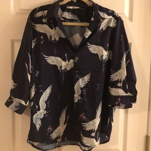 3/4 sleeve dark blue floral bird shirt